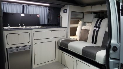Base conversion layout with optional extras of bed boards/drawers and rear overhead locker.
